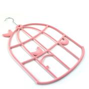 Pink Bird Cage Scarf Belt Ties Shawl Necktie Hanger Wardrobe Organiser