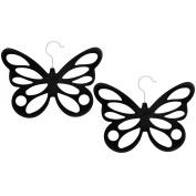 COM-FOUR ® 2x Velvet Flocking Butterfly Scarf Holder – 12 Holes, 29 x 23,5 cm, Black