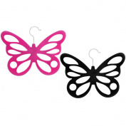 COM-FOUR ® 2x Velvet Flocking Butterfly Scarf Holder – 12 Holes, 29 x 23,5 cm, Pink and Black