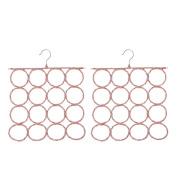 Baoblaze 2Pcs Circle Rings Scarf Holder Tie Hanger Belt Closet Clothes Organiser Hook Storage 16 Holes