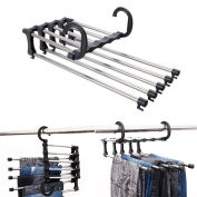 Pants Rack, 5 in 1 Stainless Steel Trouser Hanger Multifunction Magic Clothes Hanger Retractable Rack Space Saver for Home Closet Travel, by EQLEF®
