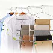 1 Multi-functional Anti-skid Trousers/Stainless Steel S-type Trousers Hanging/Wardrobe Storage Clothes Rack-A
