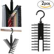 Kolylong 2 Pcs Black Cross X Hangers Tie Belt Rack Organiser Hanger Non-Slip Clips Holder
