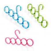 3 Pcs Plastic 5-Hole Scarf Tie Belts Shawls Storage Hanger