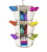 ducomi® 360 ° Rotating Carousel – Organiser for Shoes, Bags and Accessories Organiser Space-saving Hanging at 3 Levels with 24 Pockets – 34 x 90 cm