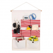 Fyore Shabby Chic Hanging Storage Bag for Wall and Door 7 Pockets Canvas Container Hooks for Keys Sunglass 50*35cm