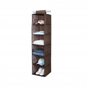 6 Section Hanging Wardrobe Storage Shelfs Organiser BROWN