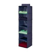 6 Section Hanging Wardrobe Storage Shelfs Organiser BLUE