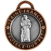 Pet Charm Large Saint Francis of Assisi, Antique Silver