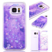 Samsung S7 Edge Glitter Case,Crystal Clear Ultra Thin TPU Floating Sparkle Pink Stars Quicksand Liquid Bling Glitter Case for Samsung S7 Edge,Cover for Samsung S7 Edge,3D Creative Funny Cute Liquid Flowing Floating Sparkle Bling Glitter Snow Design Tra ..