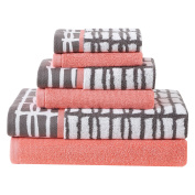Clairebella Multi-Colour Cubish 6-Piece Printed and Solid Towel Set