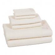 Florentine 6 Piece Towel Set in White with Pastel Pink Embroidery