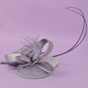 zhENfu The Retro Flower Grenadine Top Hat,Grey Headdress