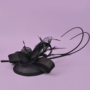 zhENfu The Retro Flower Grenadine Top Hat,Black Headdress