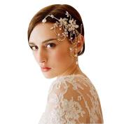 DUUMY Bride Gold Crystal Headdress Pure Handmade Hair Ornaments Wedding Dress