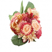 Artificial Silk Peony Bouquet,TianranRT 1 Bouquet Artificial Fake Peony Silk Flower Bridal Hydrangea Home Wedding Garden Decor