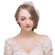 DDUUMY Wedding Veil Bride Wedding Dress Accessories High - End Headdress Diy Handmade Pearl Veil, White , single veil with no headdress