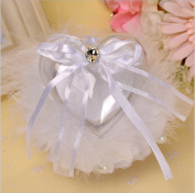 Outflower Heart Miusic Box Ostrich feathers Rhinestone Wedding Ring Pillow Cushion Bearer White