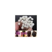 COFCO 20Pcs Bride Bridesmaid Pearl Flower Rhinestone Hair Pins for Party Prom Wedding