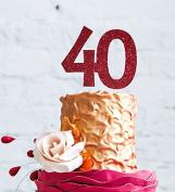Number 40 Cake Topper Large - 40th Birthday Cake Topper - Dark Pink