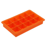 Prettyia Novelty Silicone Ice Cube Tray Freeze 15 Cavity Large Cube Jelly Maker Mould - Orange, as described