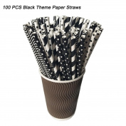 HLHN 100Pcs Black Theme Paper Straws Kids Birthday Party Wedding Decorations
