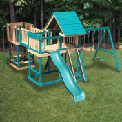 Kidwise Congo Monkey Play System No.5 with Swing Beam - Green/Cedar