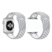 Sport Band Replacement for 42mm Apple Watches - Silver/White