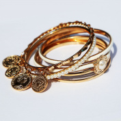 6-Piece Bangle Set Gold Plated Imitation Pearls