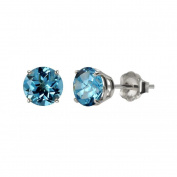 MaxMark, Inc. 10k White Gold or Yellow Gold 8mm Round Swiss Blue Topaz Stud Earrings