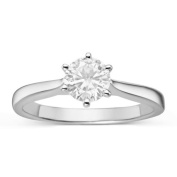 Charles & Colvard Created Moissanite Forever Classic Sterling Silver 7/8ct TGW Moissanite Solitaire Ring