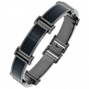 BIG Jewellery Co Black Ion-plated Stainless Steel Men's Carbon Fibre Link Bracelet