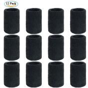 Wrist Sweatbands, ZWOOS Athletic Cotton Elastic Sweatbands for Tennis Squash Badminton Gym Basketball