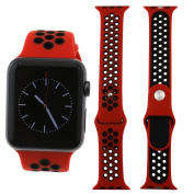 Sport Silicone Wrist Bracelet Gym Band Strap For Apple Watch 42mm Red & Black