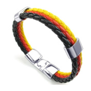 TRIXES Braided German Tricolour Theme Unisex Wristband Bracelet Black Red and Yellow 3 Weave for Sporting Events and National Celebrations