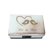 OUNONA Ring Box Rustic Engagement Wooden Wedding Ring Bearer Box Holder Bird Couple Carved with Mr Mrs Style