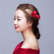 DELLT- Bride Flower Headdress Red Wedding Hair Ornaments Foliage Dress Wedding Dress Accessories Wedding Hair Comb