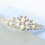 DELLT- White Bride Crown Korean Wedding Headdress Wedding Hair Ornaments Imitation Pearl Diamonds Wedding Accessories