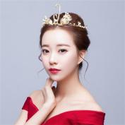 DELLT- Bride Retro Headdress Golden Crown Swan Korean Wedding Hair Accessories Silk Hair Styling Accessories Wedding Accessories