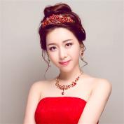 DELLT- Red Bride Headdress Hair Ornaments Wedding Dress Accessories Diamond Necklace Korean Wedding Jewellery Jewellery Crown Earrings Three Suit