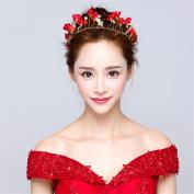 DELLT- Bride Tasting Dress Headdress Red Flower Hairband Marriage Hair Ornament Head Flower Accessories