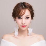 DELLT- Bride Korean white butterfly earrings feather ear clip earrings female wedding dress wedding accessories long jewellery