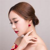 DELLT- Korean Version Of The Red Earrings Female Bride Earrings Wedding Roses Earrings Dress Wedding Accessories
