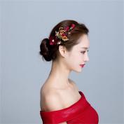 DELLT- Korean Bride Headdress Red Handmade Flowers Hair Accessories Bridesmaid Accessories Toast Dress Jewellery