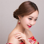 DELLT- Bride earrings red Japan and South Korea water drill ear acupuncture earrings earrings wedding dress accessories accessories