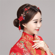 DELLT- Bride headdress Chinese wedding classic hair ornaments show Wo clothing ancient wind ornaments respect wine clothing accessories