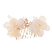 MagiDeal Elegant Wedding Bridal Bridesmaid Hair Comb Clip Beige Petunia Flower Pearls Party Women's Hair Jewellery