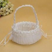 Heart & M Pretty Wedding Flower Basket With White Organza Rose Flower Girl Basket , white
