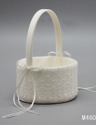 "Heart & M Flower Basket Satin Lace 9 7/8"" (25 cm) Rhinestones Lace Bowknot 1 , ivory"