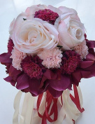 """Heart & M Wedding Flowers Round Roses Lilies Peonies Bouquets Wedding Party/ Evening Satin 9.84""""(Approx.25cm) , rainbow"""